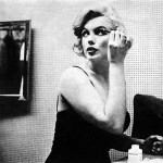 In this photo, Marilyn uses the eyebrow pencil.