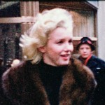 A candid image of Marilyn on the streets in New York City, 1955.  Copyright Peter Mangone.