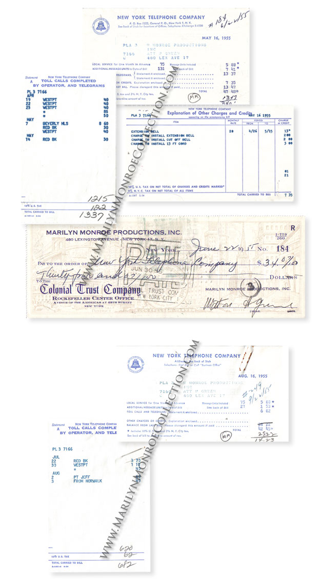 Marilyn-Monroe-Personal-Telephone-Bills
