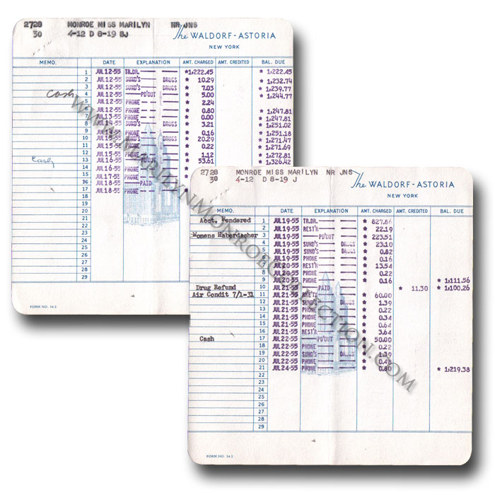 Marilyn-Monroe-Personal-Waldorf-Astoria-Hotel-Invoices