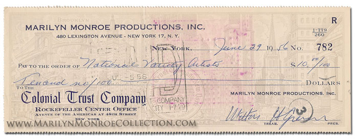 Marilyn-Monroe-Productions-Check-June-29-1956