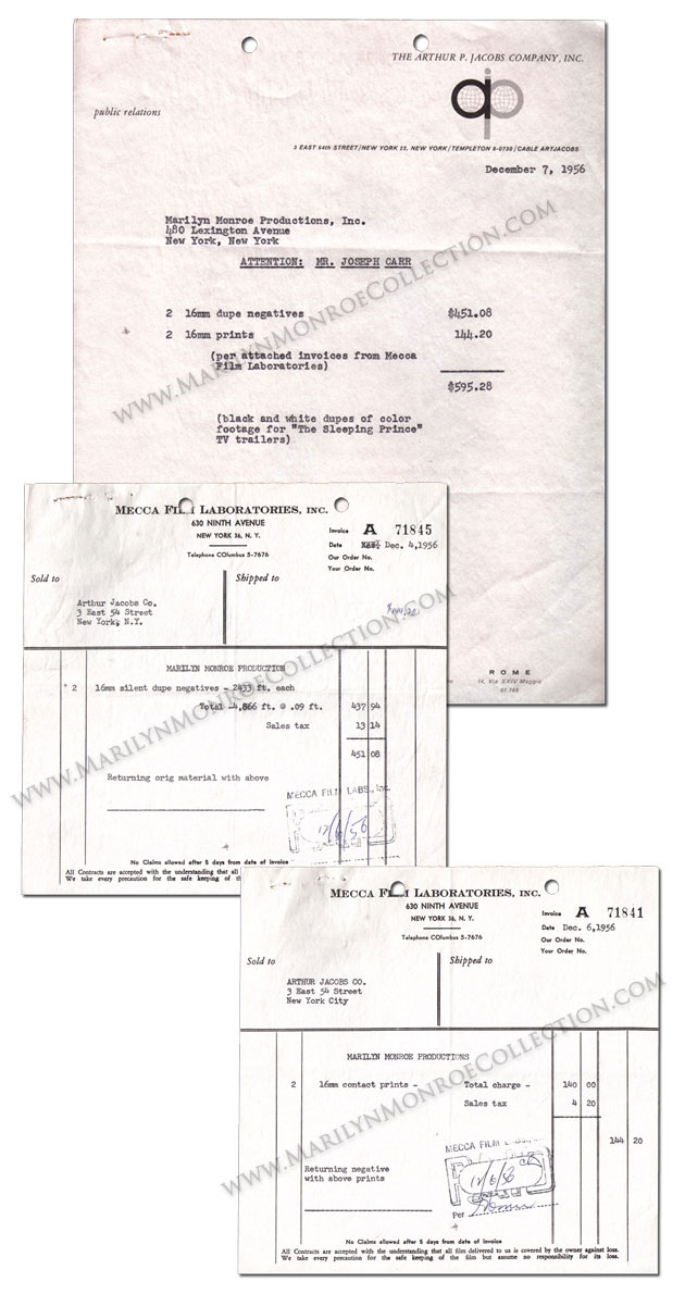 Marilyn-Monroe-Publicity-Invoices-Arthur-Jacobs-1956