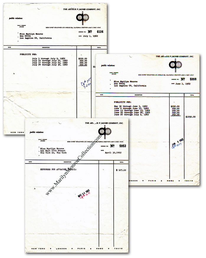Marilyn-Monroe-Publicity-Invoices-Arthur-Jacobs-1962