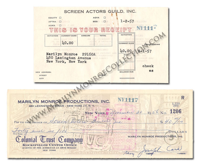Marilyn-Monroe-Screen-Actors-Guild-Payment-Receipt