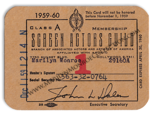 Marilyn-Monroe-Screen-Actors-Guild-SAG-Membership-Card-1959-1960