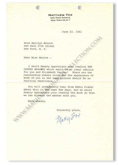 Marilyn-Monroe-Matthew-Fox-The-Carpet-Baggers-Letter-1