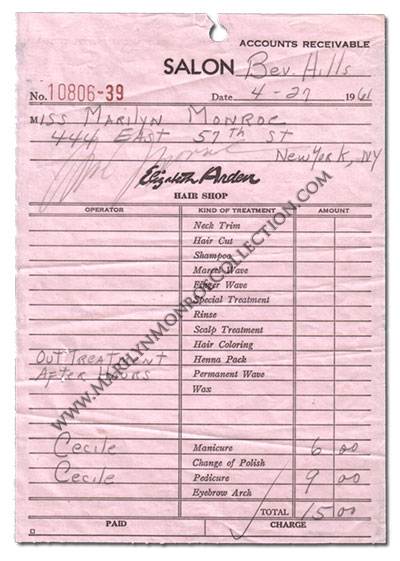 Marilyn-Monroe-Signed-Elizabeth-Arden-Salon-Receipt