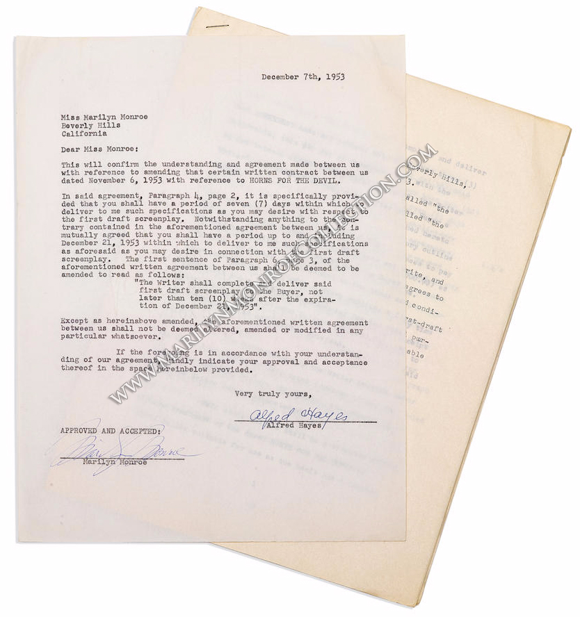 A Marilyn Monroe Signed Contract Horns For The Devil