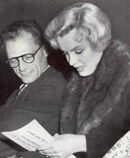 "Attending the preview of Arthur Miller's play ""View From The Bridge"" at the New Watergate Club Theater in London, September 9, 1956."