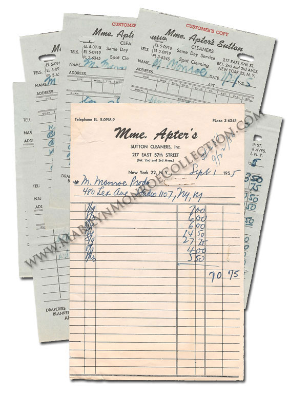 Marilyn-Monroe-Personal-Dry-Cleaning-Receipts