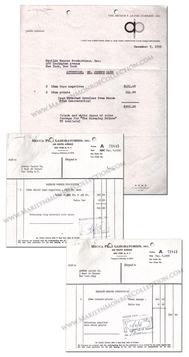 Marilyn-Monroe-Publicity-Invoices-Arthur-Jacobs-1956