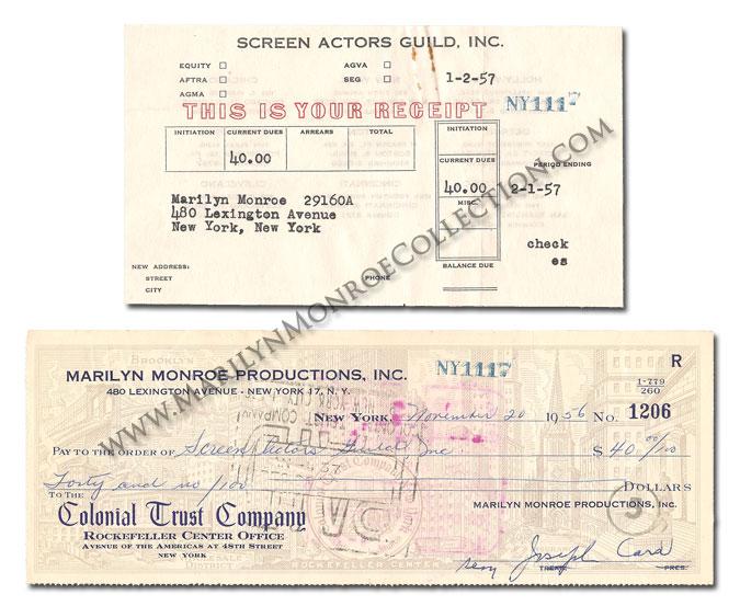 Marilyn-Monroe-Screen-Actors-Guild-Payment-Receipt