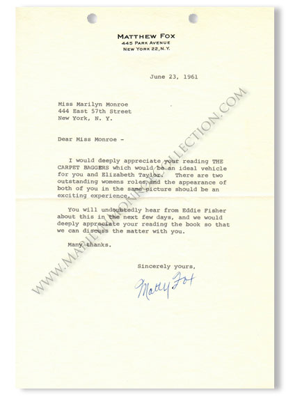 Marilyn-Monroe-Matthew-Fox-The-Carpet-Baggers-Letter-1