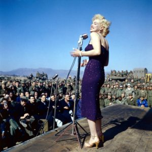 Marilyn-wearing-a-thin-skin-tight-gown-in-sub-zero-temp-while-performing-on-stage-in-Korea-1954-1024x1021